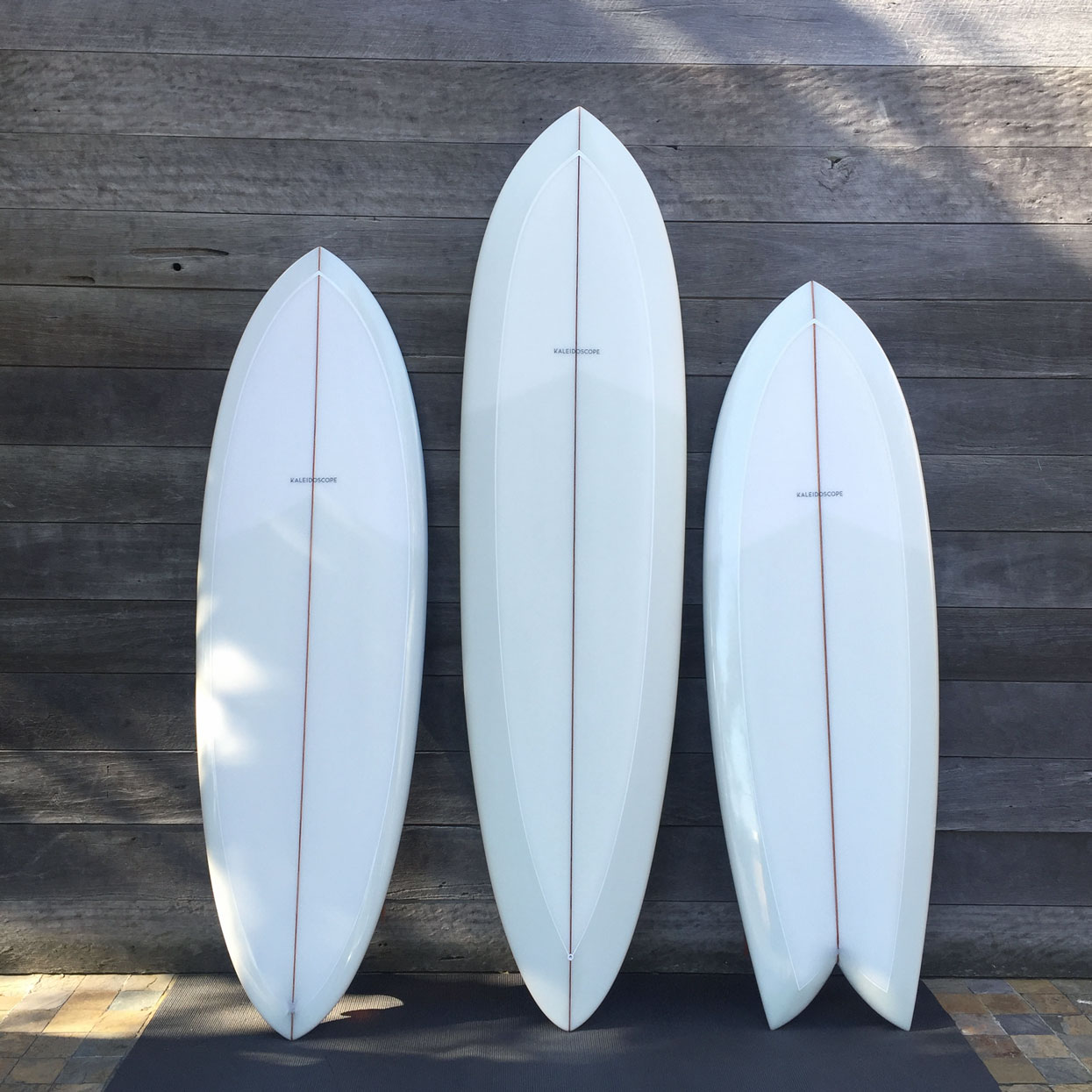 Kaleidoscope Surfboards three boards - Strategy, Art Direction, Branding, Graphic & Digital Design Advertising Graphic Design Pacifica agency Byron Bay